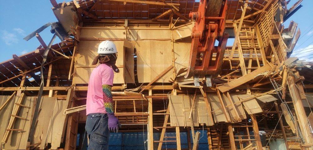 上物の木造部の取り壊し
