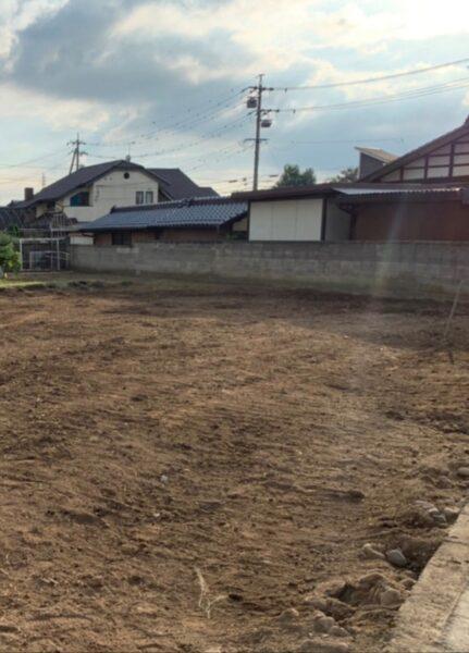 千曲市上山田の解体現場にて最終整地状況